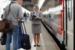 Passengers at the double-decker train Mikhail Ulyanov Royalty Free Stock Photos