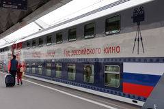 Passengers at the double-decker train Mikhail Ulyanov Royalty Free Stock Photography