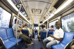 Passengers in a downtown Metro bus in Miami Stock Photos
