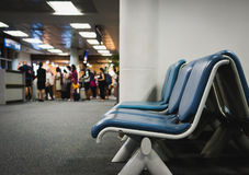The passengers are embarking on the plane. In chiangmai airport royalty free stock images