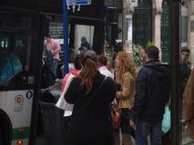 Passengers entering on bus Stock Photos