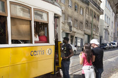 Passengers entering tram. Royalty Free Stock Photography
