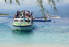 Passengers on the ferry in Bali, Indonesia stock images