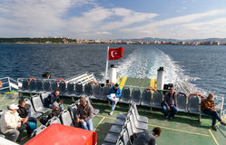 Passengers on ferry boat, crossing the Dardanelles from Canakkale to Gallipoli, Turkey Royalty Free Stock Images