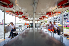 Passengers on ferry boat tra pra jan to tra siriraj. The travel on ferry boat in river Royalty Free Stock Photography