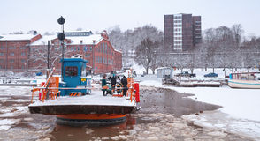 Passengers float on city boat Fori, light traffic ferry Stock Photo