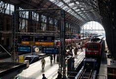 Passengers at the Frankfurt main train station Royalty Free Stock Image