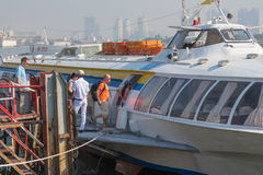 Passengers get on hydrofoil from Saigon to Vungtau Stock Image