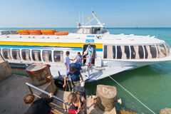 Passengers get off hydrofoil from Saigon in Vungtau Stock Photography