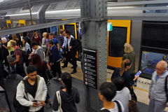 Free Passengers Get Off Sydney Trains At Town Hall Railway Station In Stock Photo - 80068660