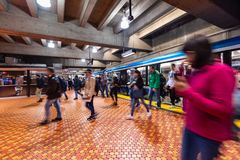 Free Passengers Getting Off The Subway Train At Lionel Groux Station Royalty Free Stock Photo - 161297525