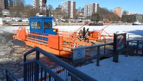 Passengers go on the ferry `Fiori`. Sunny February day. Turku, Finland. TURKU, FINLAND - FEBRUARY 23, 2018: Passengers go on the ferry `Fiori`. Sunny February stock video footage