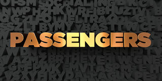 Passengers - Gold text on black background - 3D rendered royalty free stock picture Royalty Free Stock Photo