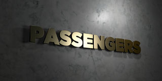 Passengers - Gold text on black background - 3D rendered royalty free stock picture Royalty Free Stock Photography