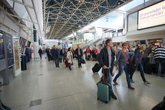 Passengers in Helsinki Airport Royalty Free Stock Images