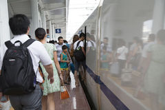 Passengers  by high speed train Stock Photos