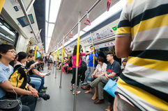 Passengers on the Hong Kong MTR. Royalty Free Stock Photography