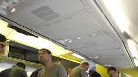 Passengers inside the aircraft stock footage