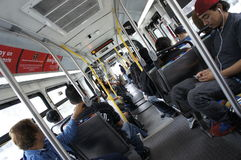 Passengers Inside The Bus Stock Photo