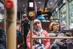 Passengers inside a New Routemaster, London, UK stock photos