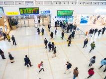 Passengers inside of Seoul Station. Stock Images