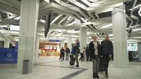 Passengers at the International Novosibirsk Tolmachevo Airport stock footage video stock video