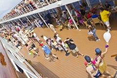 Passengers joining Crossing Equator Celebration. Mid Atlantic - Nov 11 2011: Passengers joining  Crossing the Equator Celebration on Cruise Ship MSC Armonia Royalty Free Stock Images