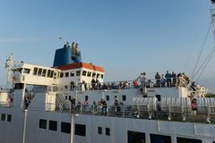 Passengers on the Kerch ferry Royalty Free Stock Image