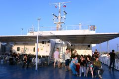 Passengers on the Kerch ferry Royalty Free Stock Photography