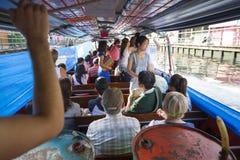 Passengers on Khlong Canal Boat Bangkok Thailand Stock Photo