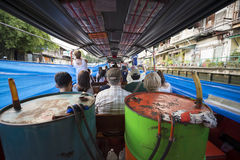 Passengers on Khlong Canal Boat Bangkok Thailand Royalty Free Stock Photography