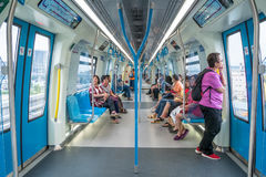 Passengers in the latest MRT Mass Rapid Transit. MRT is the latest public transportation system in Klang Valley from Sungai Bul. Kuala Lumpur,Malaysia - July 25 Stock Photos