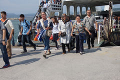 Passengers leave  the Dardanelles  ferry Stock Photos