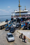 Passengers leave  the Dardanelles  ferry Royalty Free Stock Photos