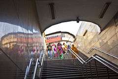 Passengers leaving metro train Chawri Bazar Royalty Free Stock Images