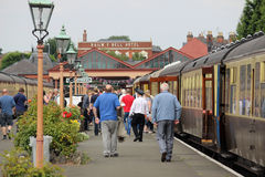 Passengers leaving train Severn Valley Railway Royalty Free Stock Image