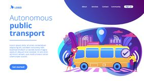 Autonomous public transport concept landing page. Passengers like and approve autonomos robotic driverless bus. Autonomous public transport, self-driving bus stock illustration