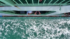 passengers looking through the ferry window royalty free stock photography