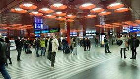 Passengers at main train station panorama. Prague, Czech Republic - November 25, 2016: Passengers at main train station panorama stock footage