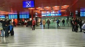 Passengers at main train station panorama. Prague, Czech Republic - November 25, 2016: Passengers at main train station panorama stock video footage