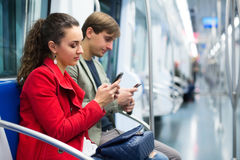 Passengers in metro wagon Stock Photography