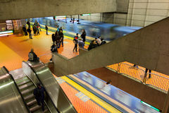 Montreal subway station with 2 trains arriving Royalty Free Stock Image