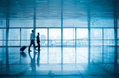Passengers motion blur in modern corridor Royalty Free Stock Photos
