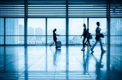 Passengers motion blur in modern corridor Royalty Free Stock Image