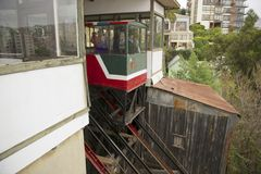 Passengers move down with El Peral funicular in Valparaiso, Chile. Stock Photos