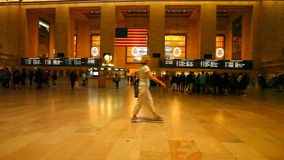 Passengers move through Grand Central Station in Manhattan. Passengers move through Grand Central Station in New York stock video footage