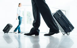 Passengers moving with luggage Royalty Free Stock Photo