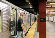 Passengers in New York Subway Stock Images