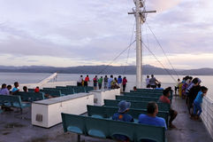 Passengers onboard of inter island ferry in Fiji Stock Photography