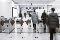 Passengers out of the subway station Stock Photo